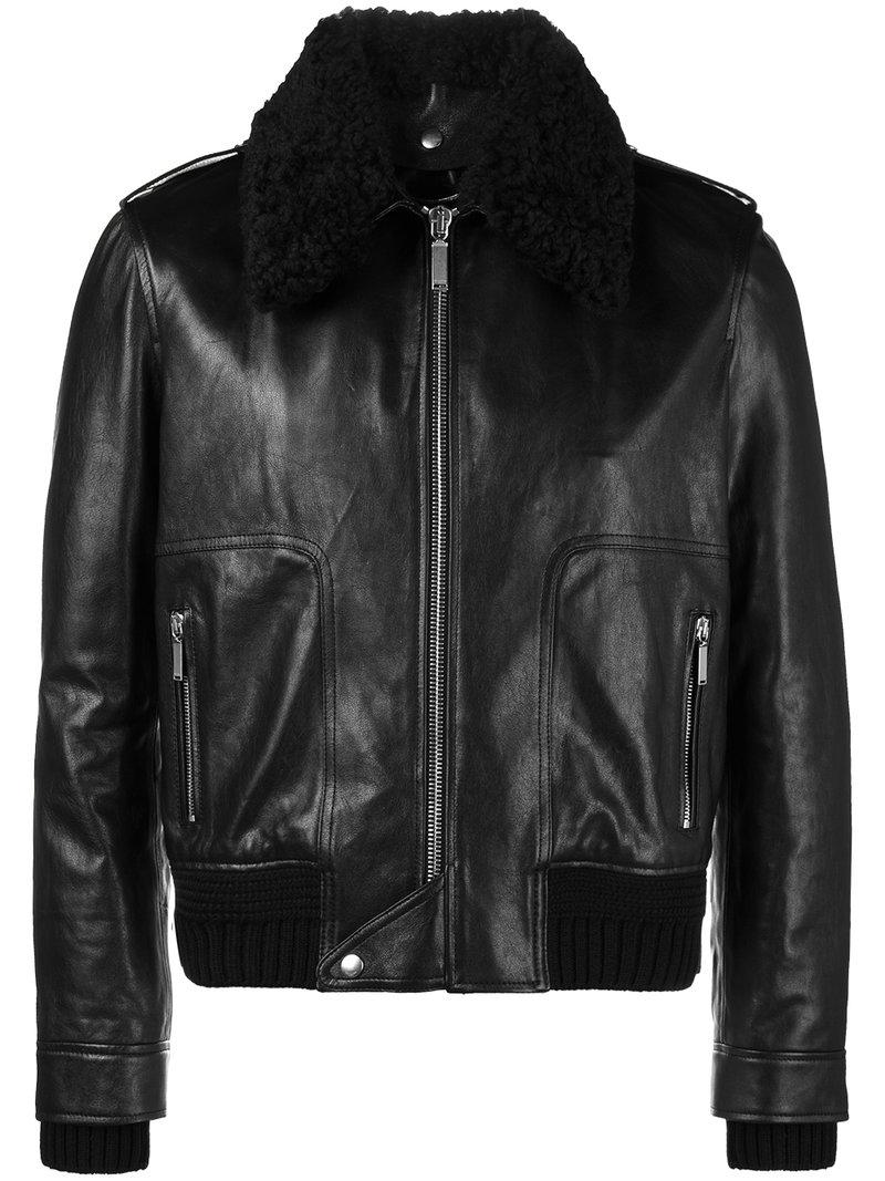 236a86c7ffb5 Saint Laurent Shearling Collar Flight Jacket in Black for Men - Lyst