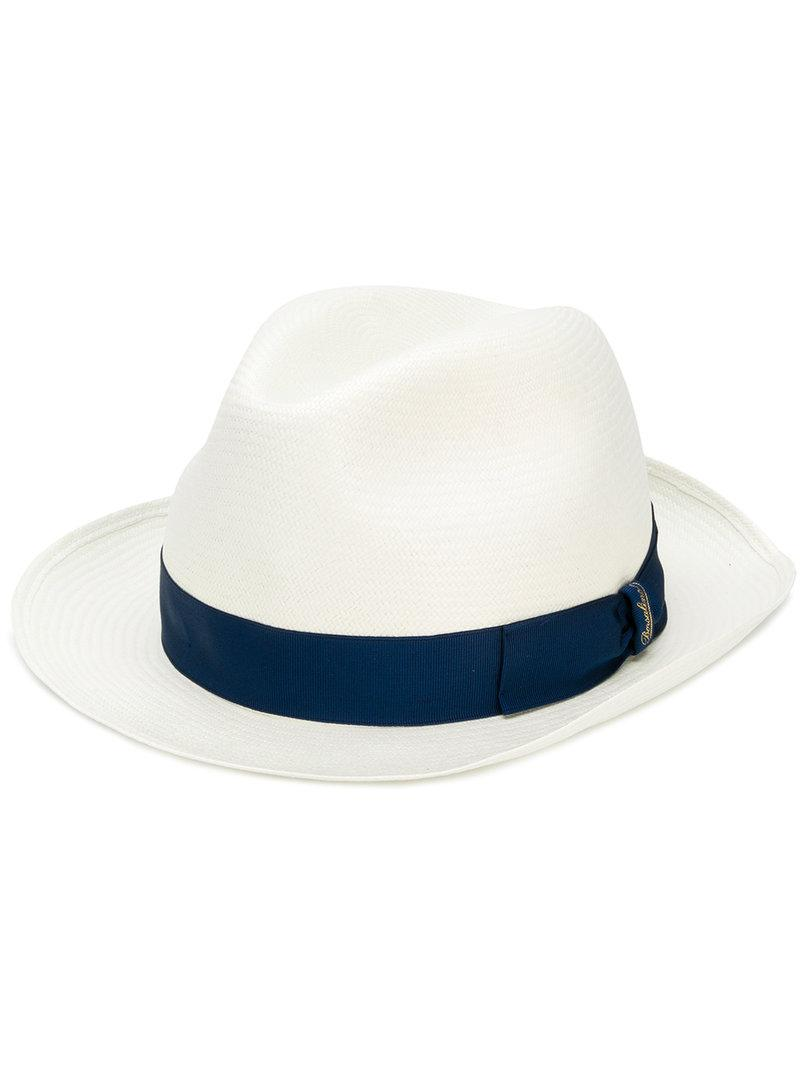 8c185a78758b4 Lyst - Borsalino Grosgrain Embellished Hat in White for Men