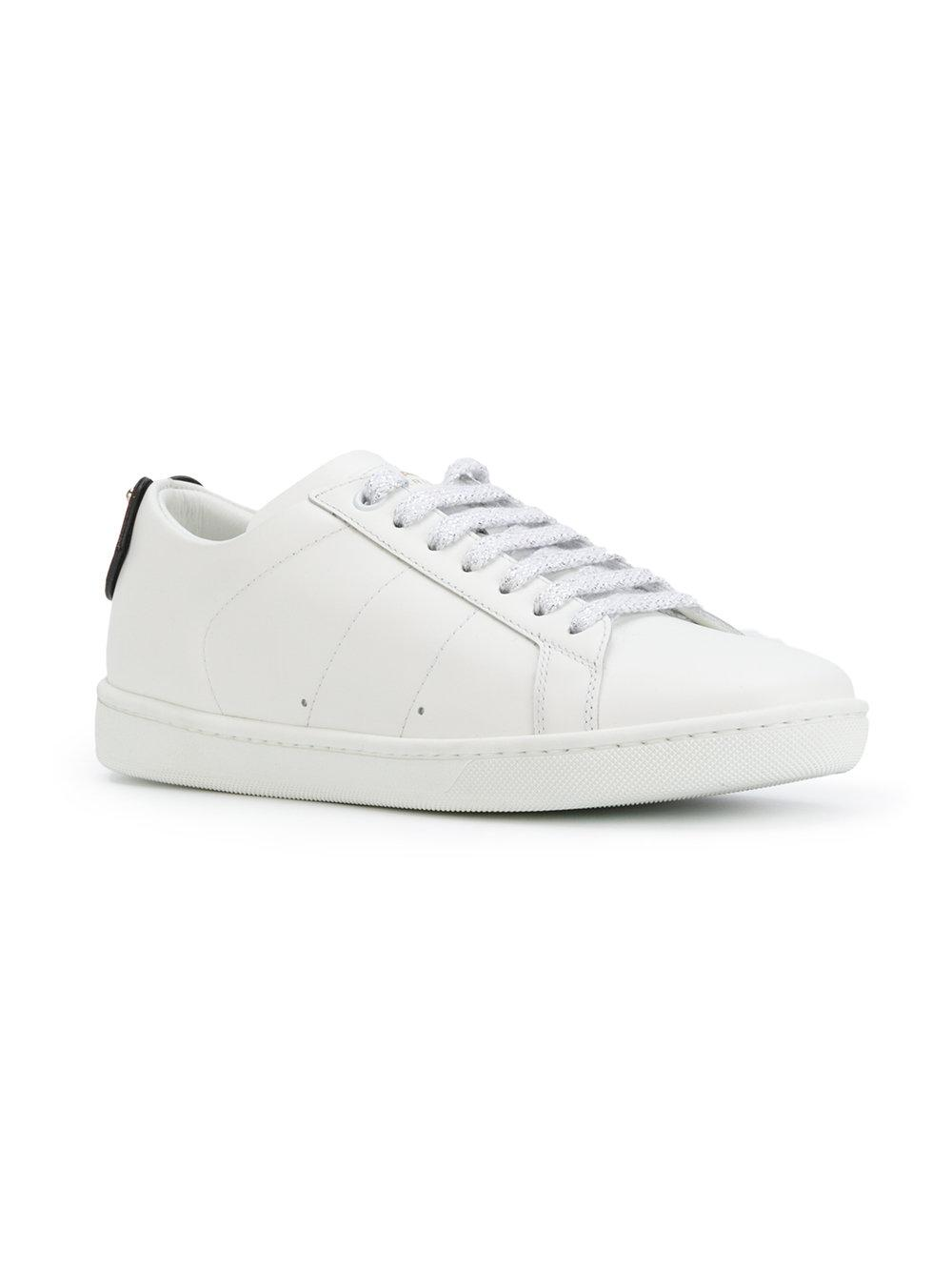 61031b84f32e Saint Laurent Court Classic Lips Sneakers in White - Save 35% - Lyst
