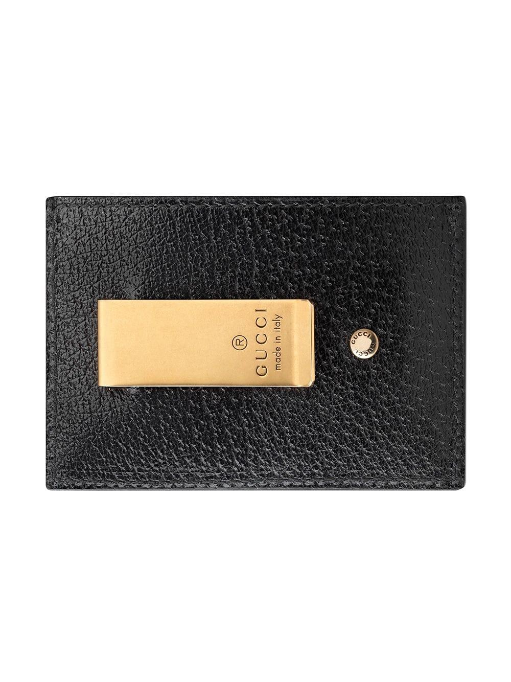 376fdbaa03c47d Gucci Leather Money Clip With Web in Black for Men - Save 6% - Lyst