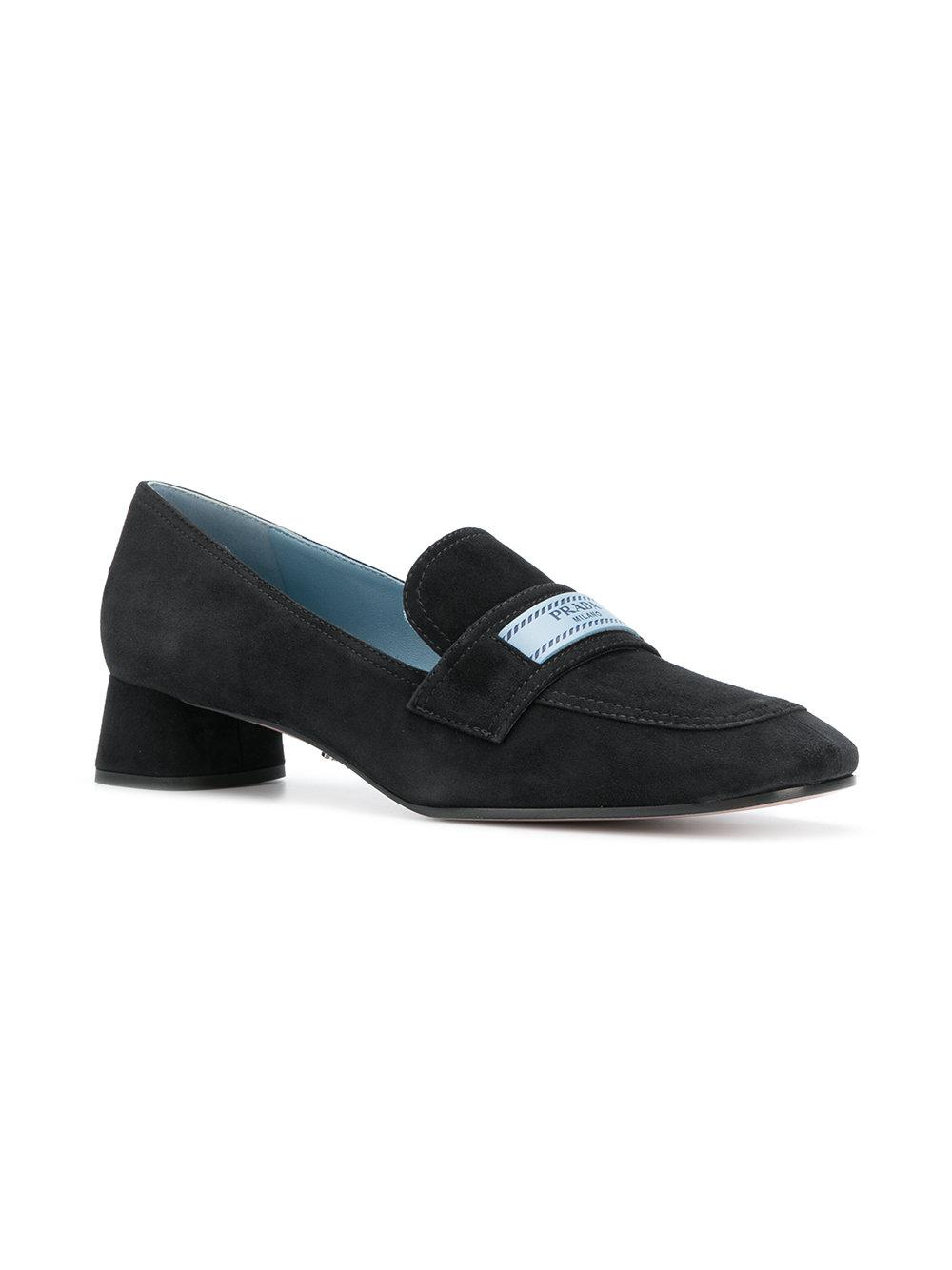 logo patch block heel loafers - Black Prada Discount Factory Outlet vqTUj0q6zN