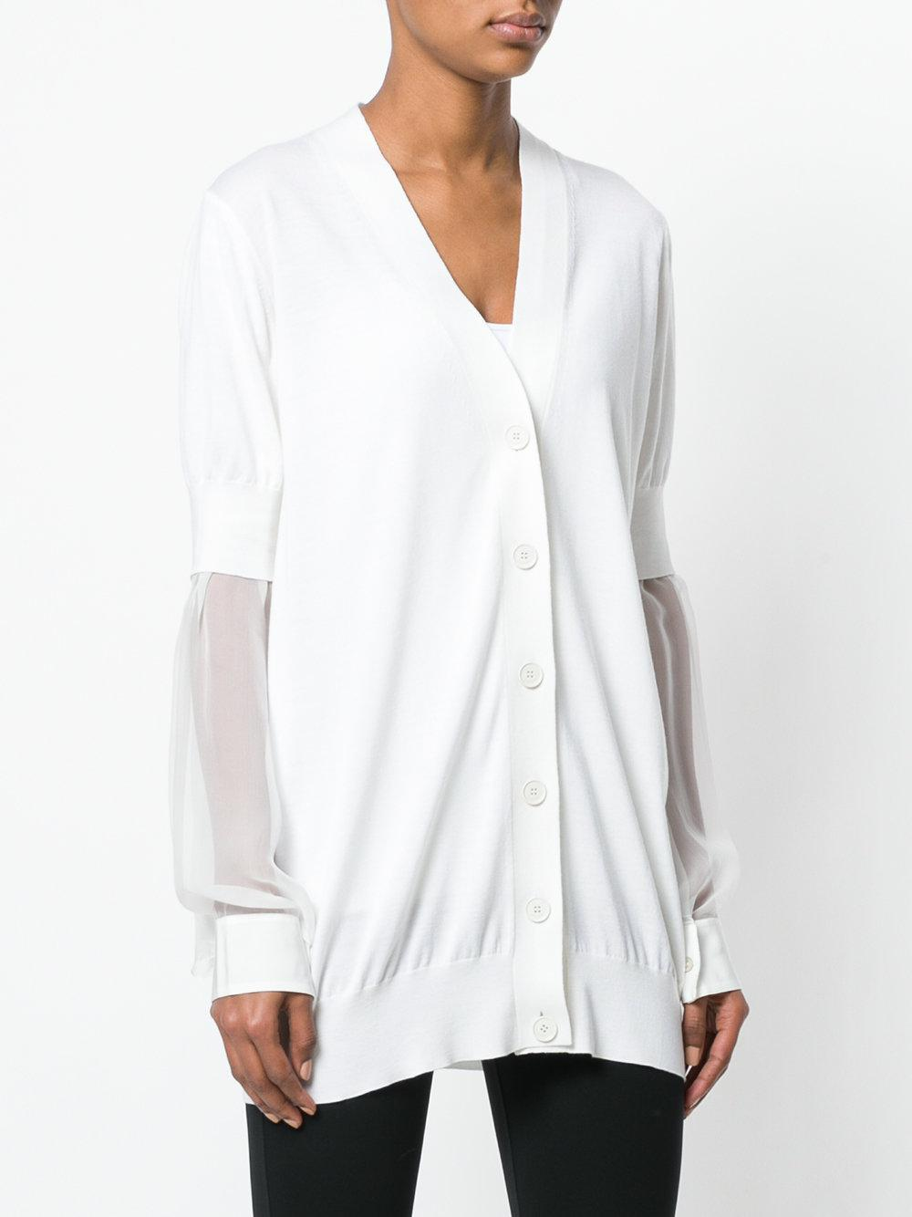 2037ba6a4 Lyst - Givenchy Sheer-sleeves Cardigan in White