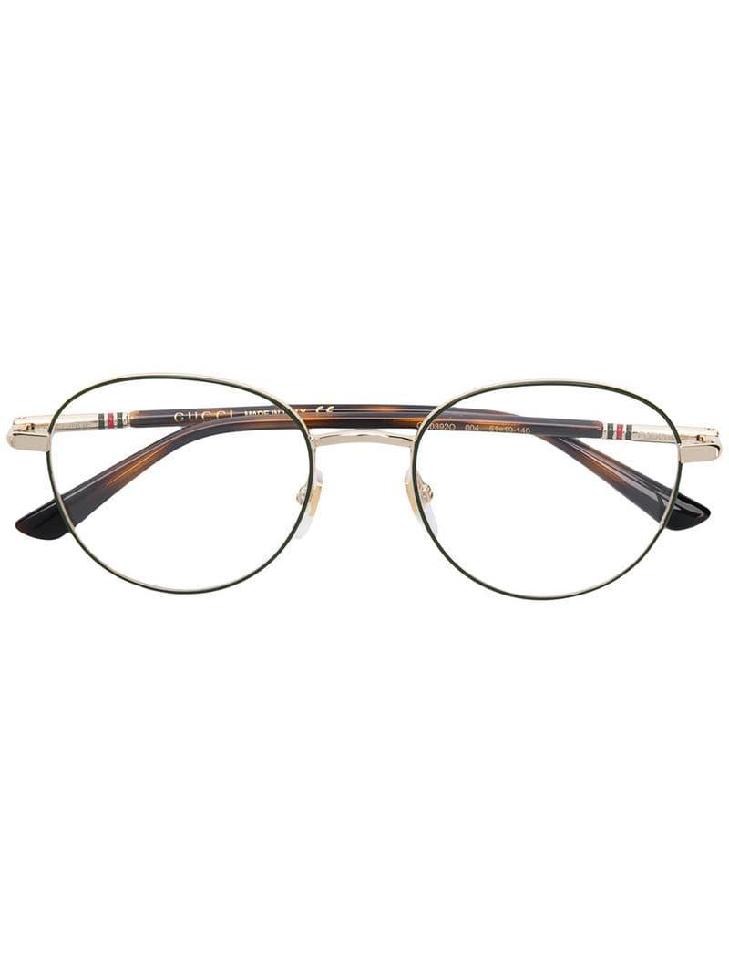 c65f5736717 Lyst - Gucci Round Frame Glasses in Green for Men