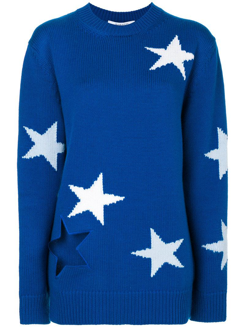 a6d186395628c Lyst - Givenchy Star Intarsia Knitted Jumper in Blue