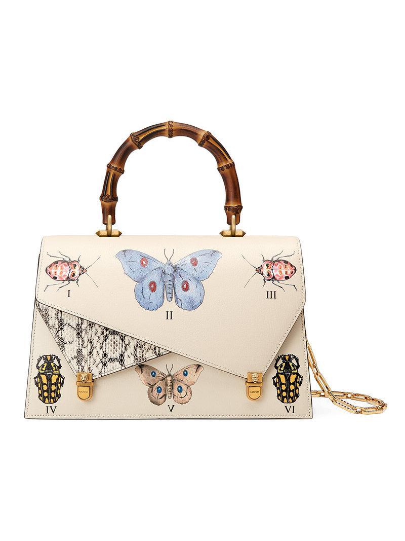 2e49ad6e2e9f66 Lyst - Gucci Ottilia Leather Top Handle Bag in White