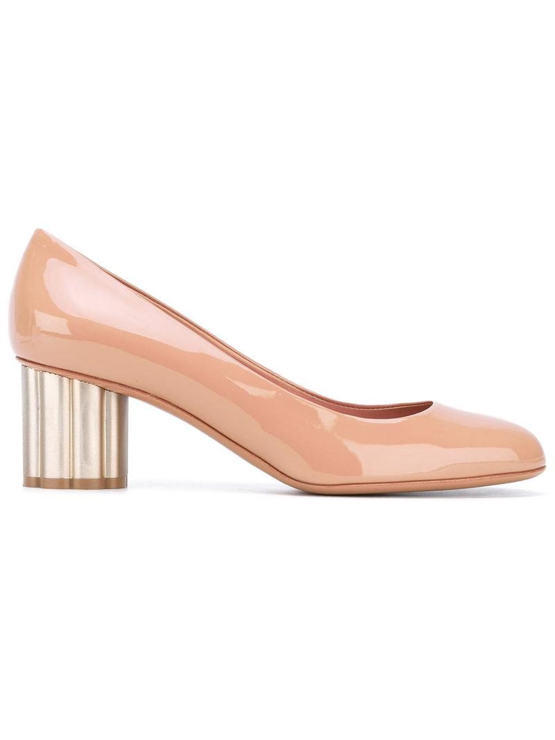 Lyst Ferragamo Flower Heel Pumps In Pink