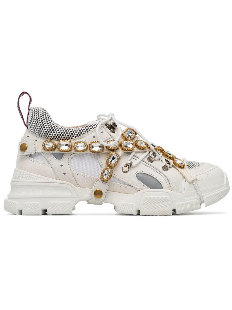 548d7355e4f Lyst - Gucci White Journey Crystal Embellished Leather Sneakers in ...