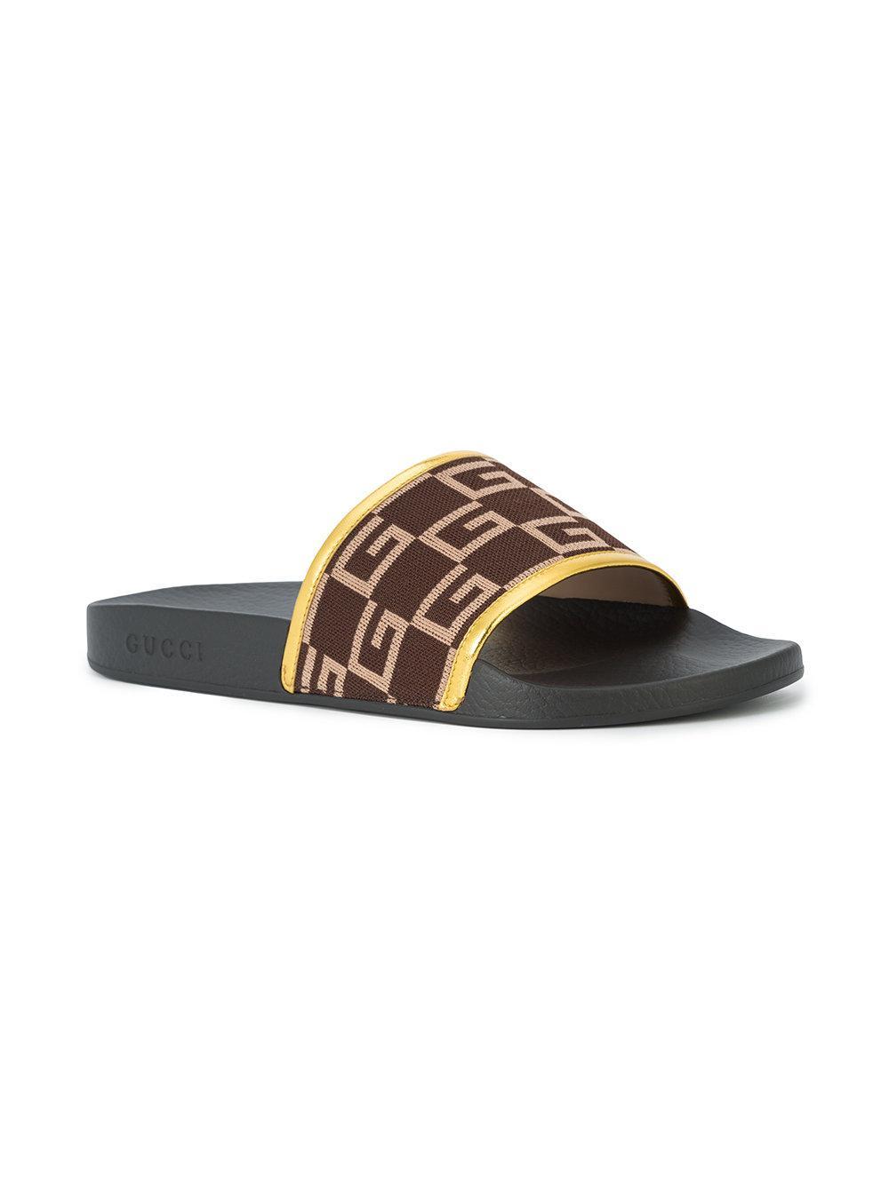 b22f90952eab Lyst - Gucci G Print Shower Slides in Black for Men