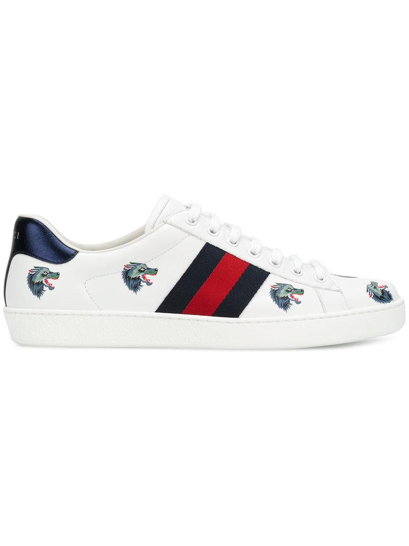 5c0bf27cc Lyst - Gucci Ace Wolf-embroidered Sneakers in White