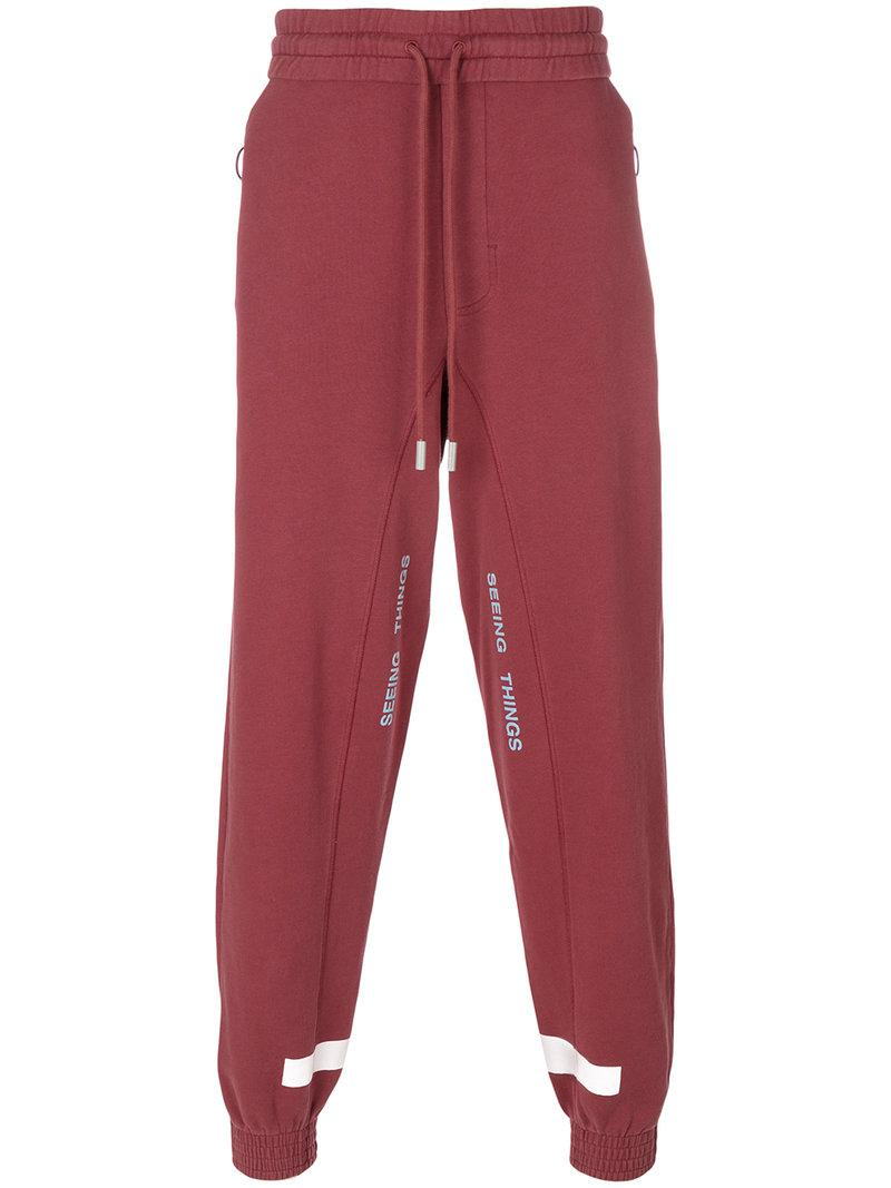 6abd69e2f305 Lyst - Off-White c o Virgil Abloh Seeing Things Sweatpants in Red ...