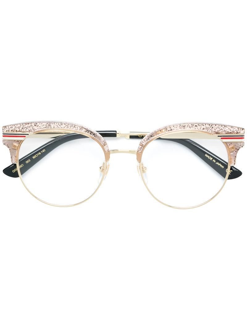 ffcc0713e7 Gucci Glitter Round Frame Glasses in Metallic - Lyst