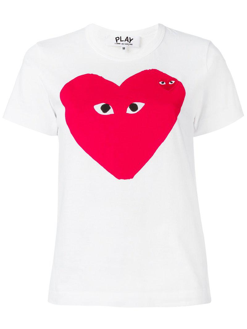 lyst play comme des gar ons heart print t shirt in white. Black Bedroom Furniture Sets. Home Design Ideas