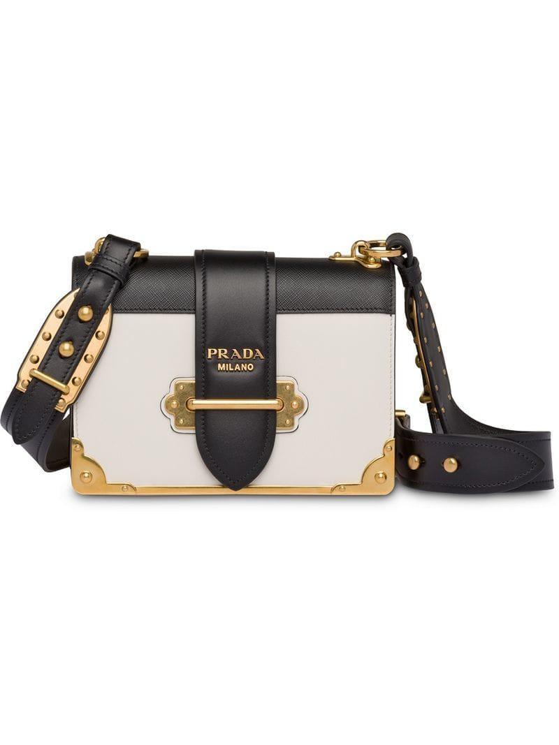 1096019e26edb8 Prada Cahier Large Leather Bag in White - Save 11% - Lyst