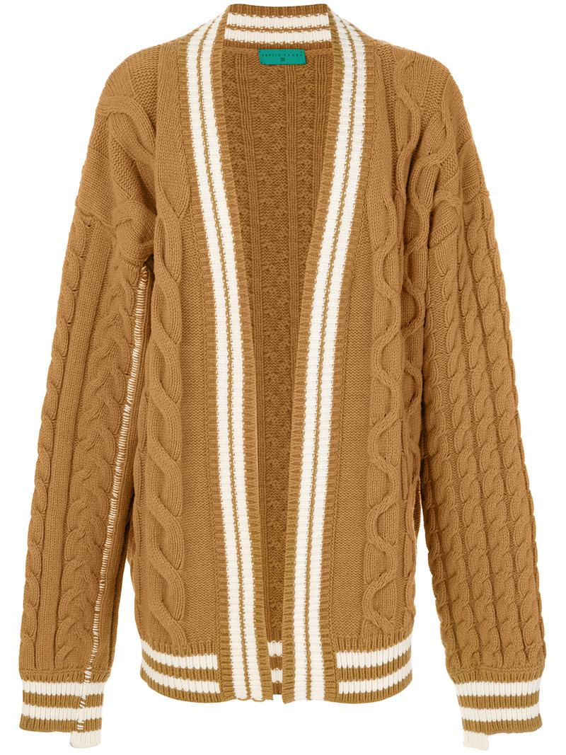 Paura Oversized Cable-knit Cardigan in Brown for Men | Lyst