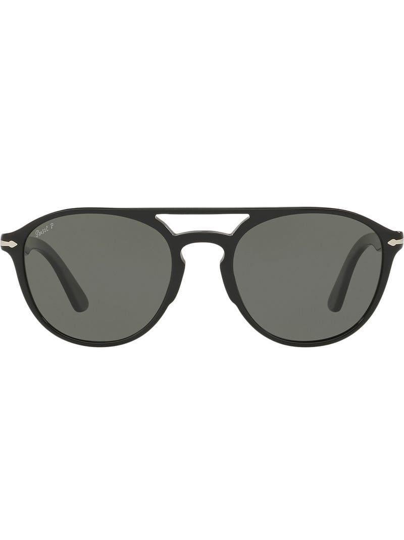 fa4316e5aa6 Persol Round Aviator Sunglasses in Black for Men - Lyst