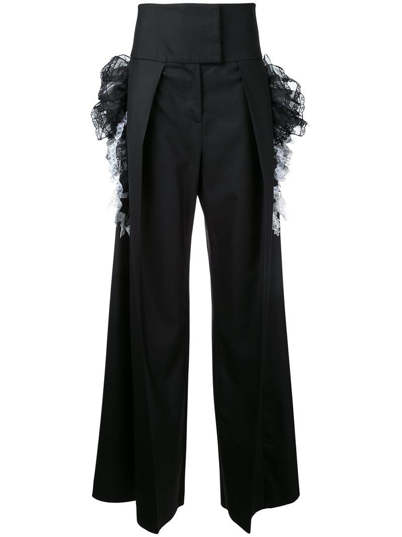 Preen By Thornton Bregazzi Woman Ruffled Lace-trimmed High-rise Slim-leg Jeans Black Size S Preen Popular Sale Online Cheap Sale Looking For Best Place Cheap Online Clearance Hot Sale qk8IoKA