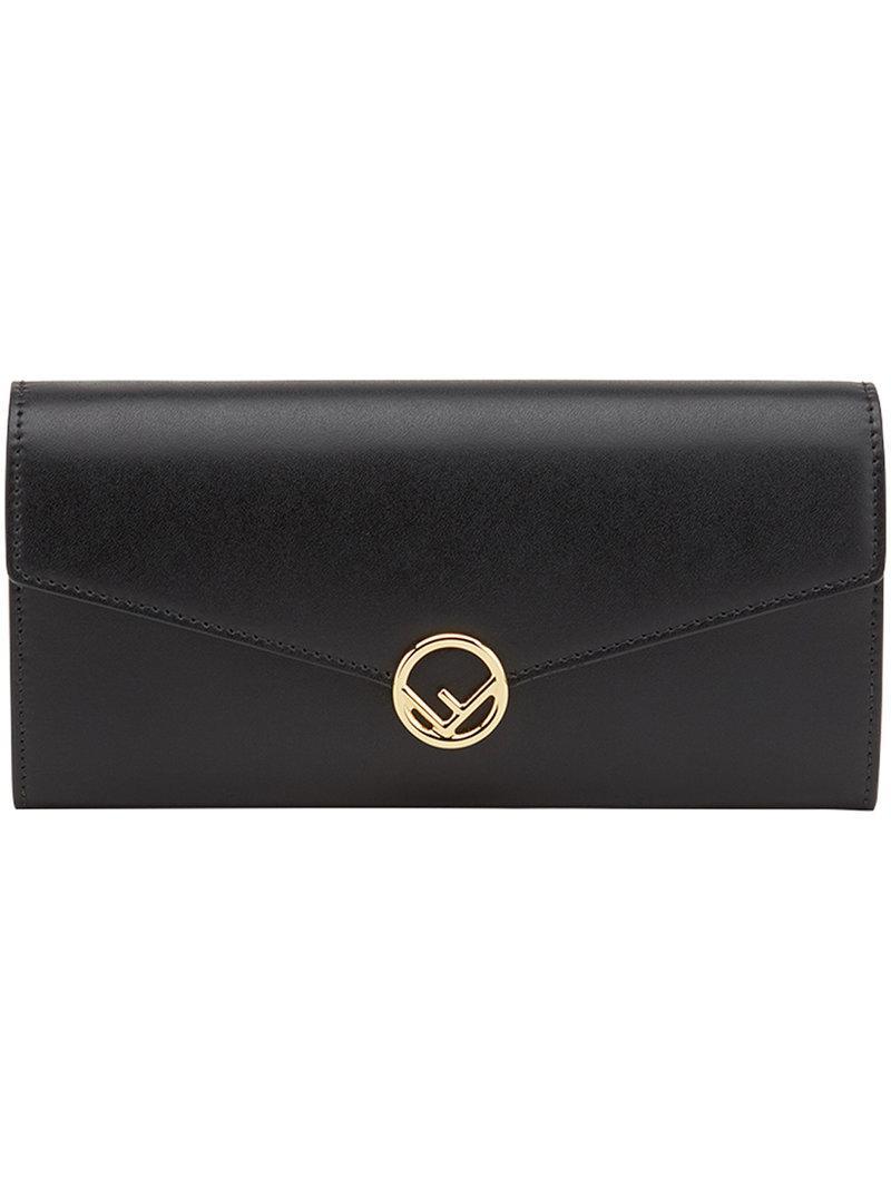 Lyst - Portefeuille à plaque logo Fendi en coloris Noir 01c0e51ee5d