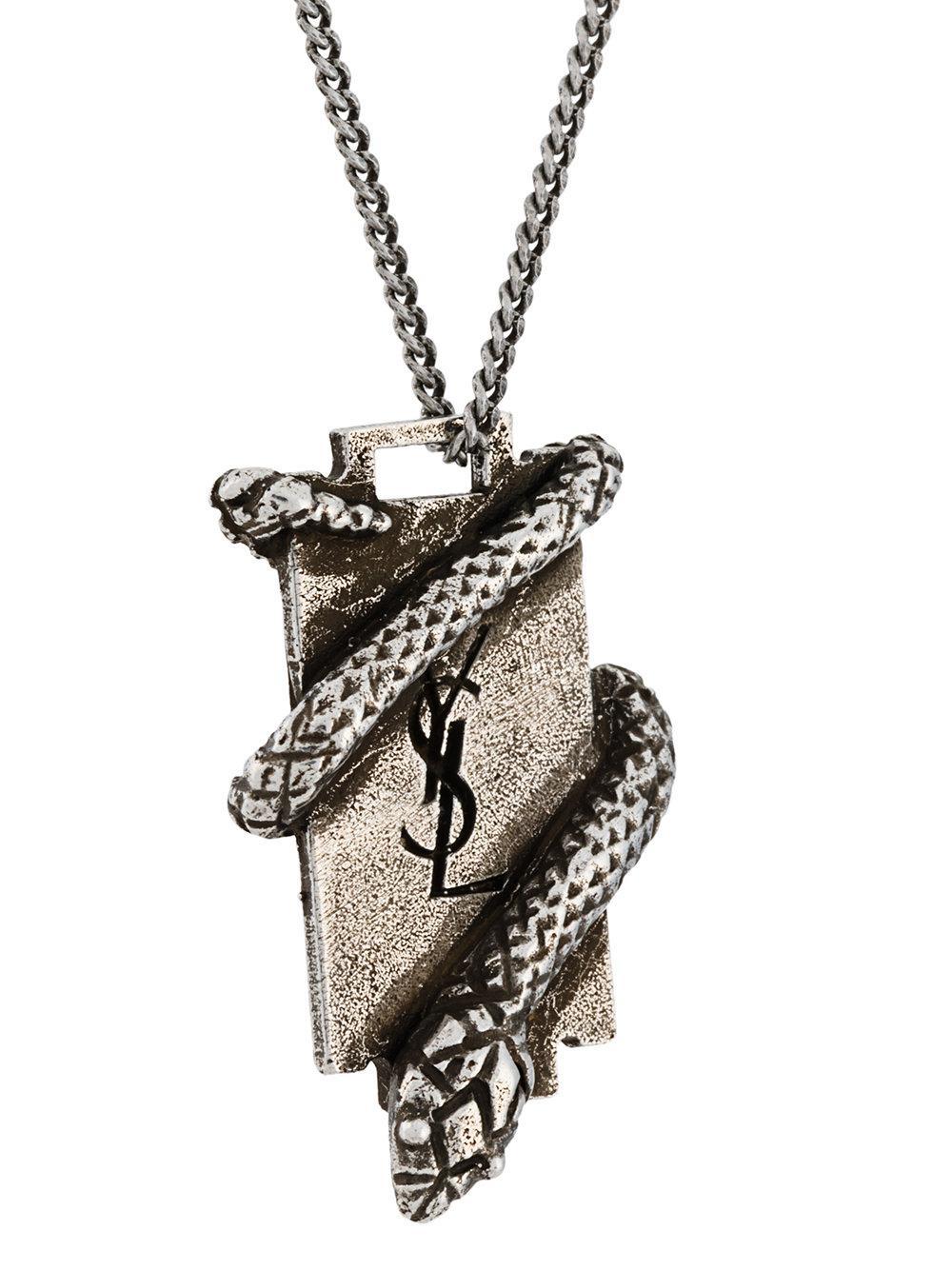 YSL serpent plaque necklace - Metallic Saint Laurent jpzC1c5