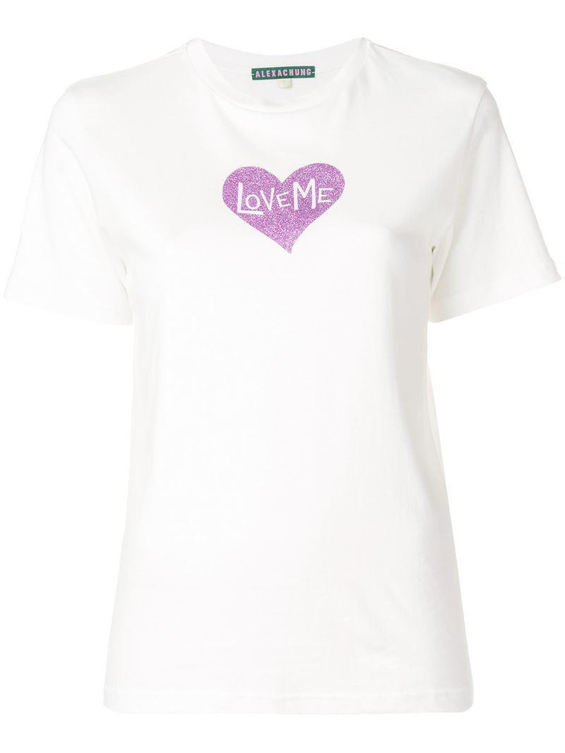 ALEXACHUNG Love Me Glitter T-shirt in White - Lyst