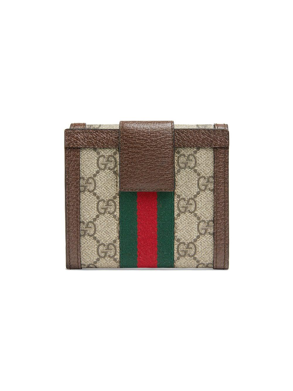 201dfad62b43 Lyst - Gucci Ophidia GG French Flap Wallet in Brown