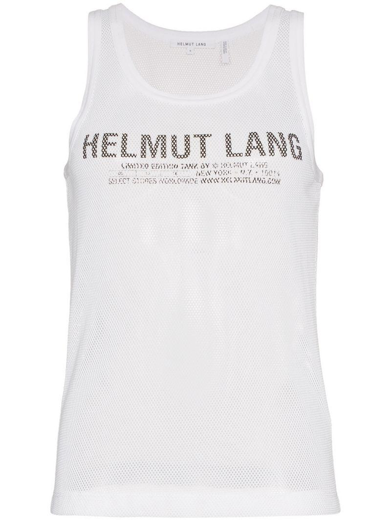 fc1625471f6da Helmut Lang Mesh Logo Tank Top in White - Save 45% - Lyst
