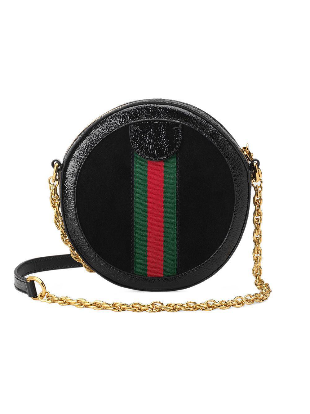 c78afd11df16 Gucci Ophidia Mini Round Shoulder Bag in Black - Lyst