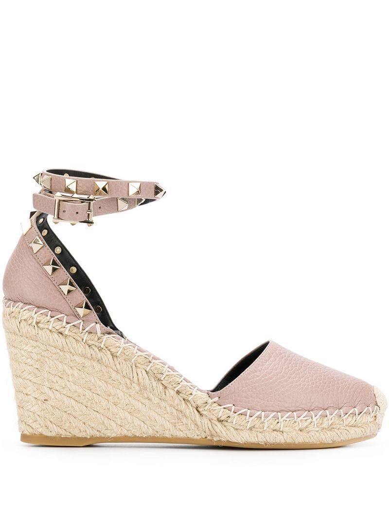 609cf1396149 Valentino Rockstud Leather Wedge Espadrilles in Pink - Save ...