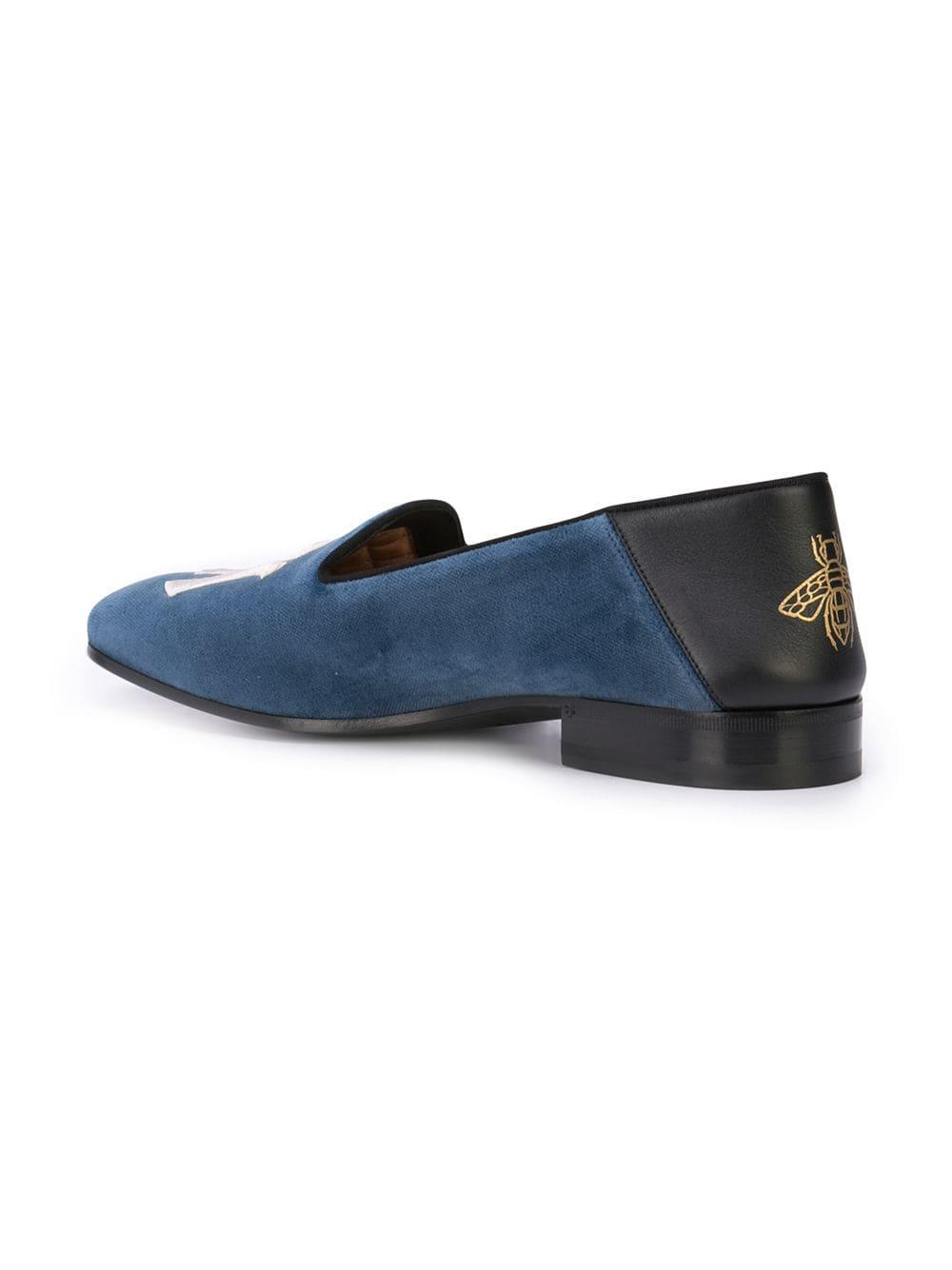 dd908e3e3e985 Gucci - Blue Fold-down Velvet Loafers With Ny Yankeestm Patch for Men -  Lyst. View fullscreen