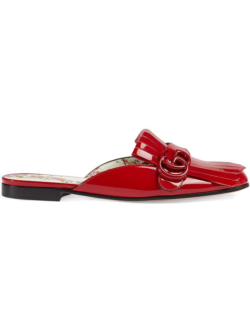70162df0ce9 Lyst - Gucci Marmont Patent Leather Slippers in Red - Save 6%