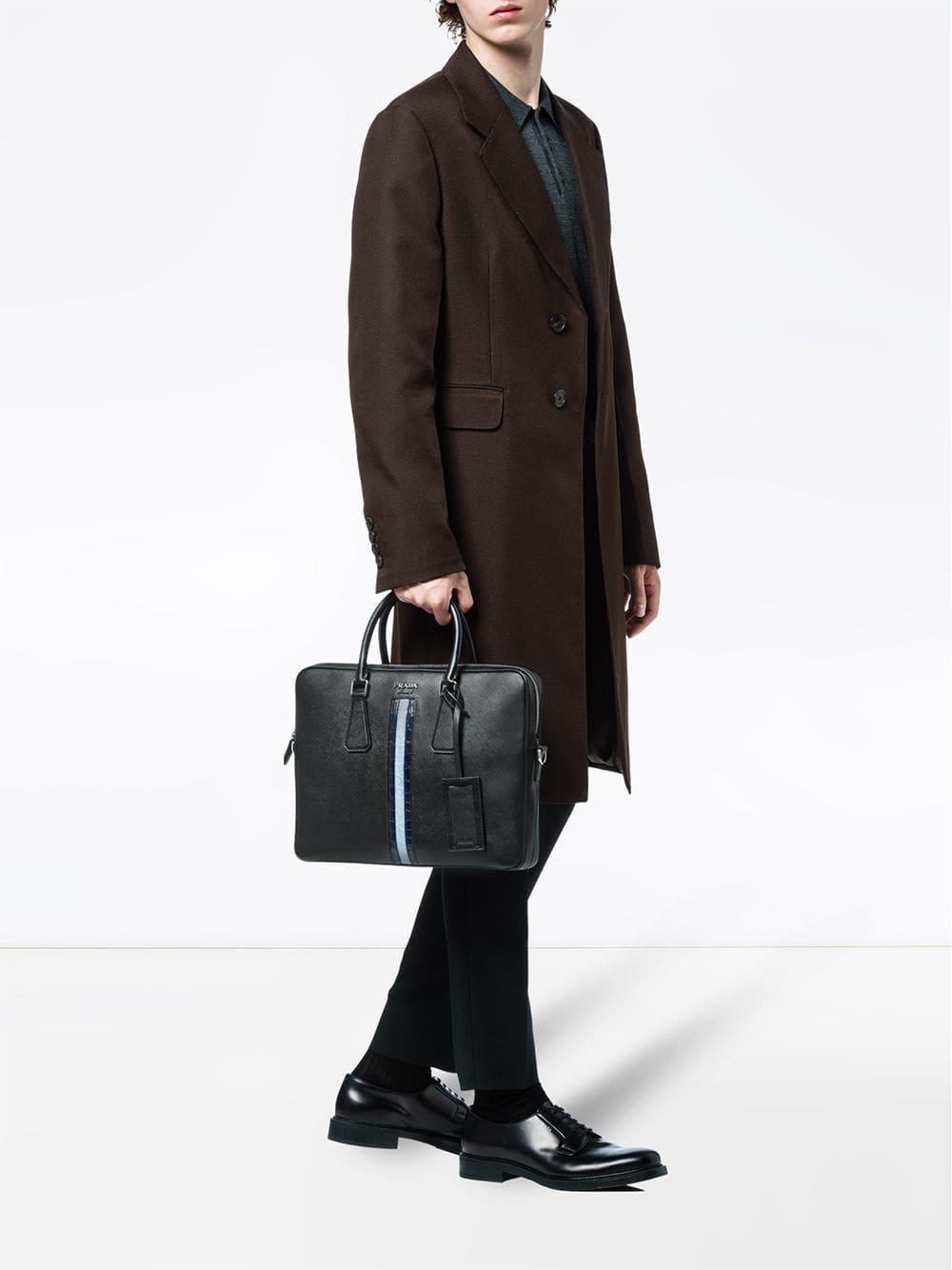 2d31f3c378c8d Prada Saffiano Leather Work Bag in Black for Men - Lyst
