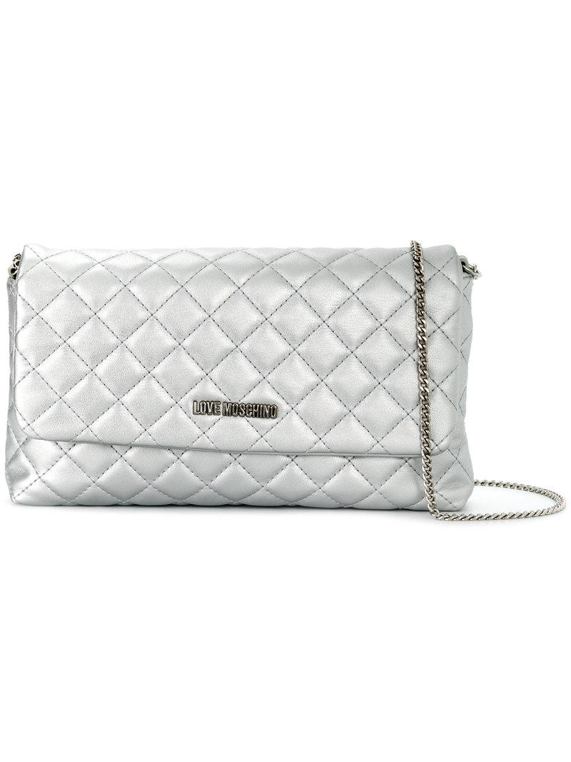 c48f83ea69 Love Moschino Quilted Shoulder Bag in Metallic - Lyst