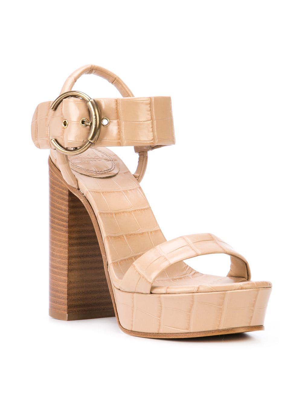 d69de926c451cb Lyst - Chloé Platform Sandals in Brown