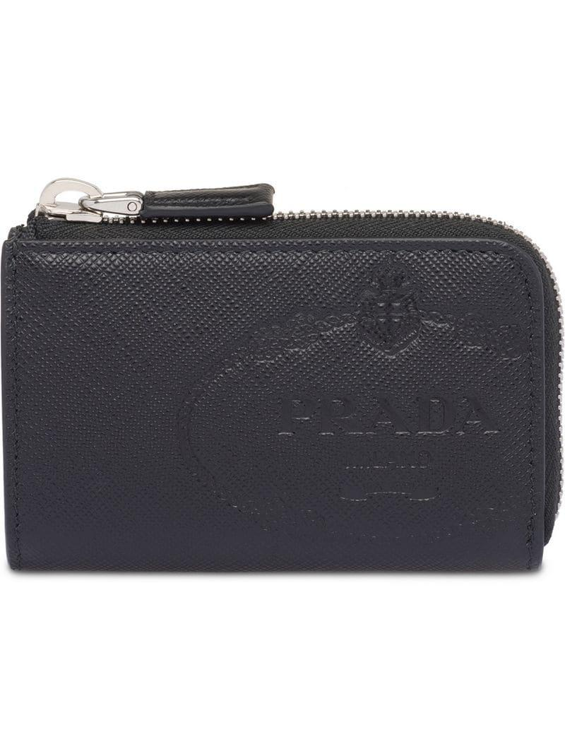 8012a2c8e579dd Prada Saffiano Leather Card Holder in Black for Men - Lyst