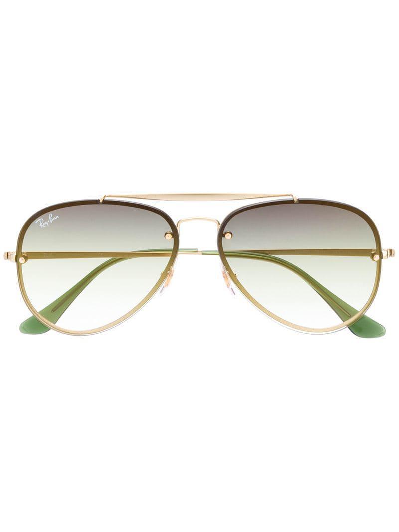 3a68e813d4 Ray-Ban Blaze Polarized Aviator Sunglasses in Metallic - Lyst