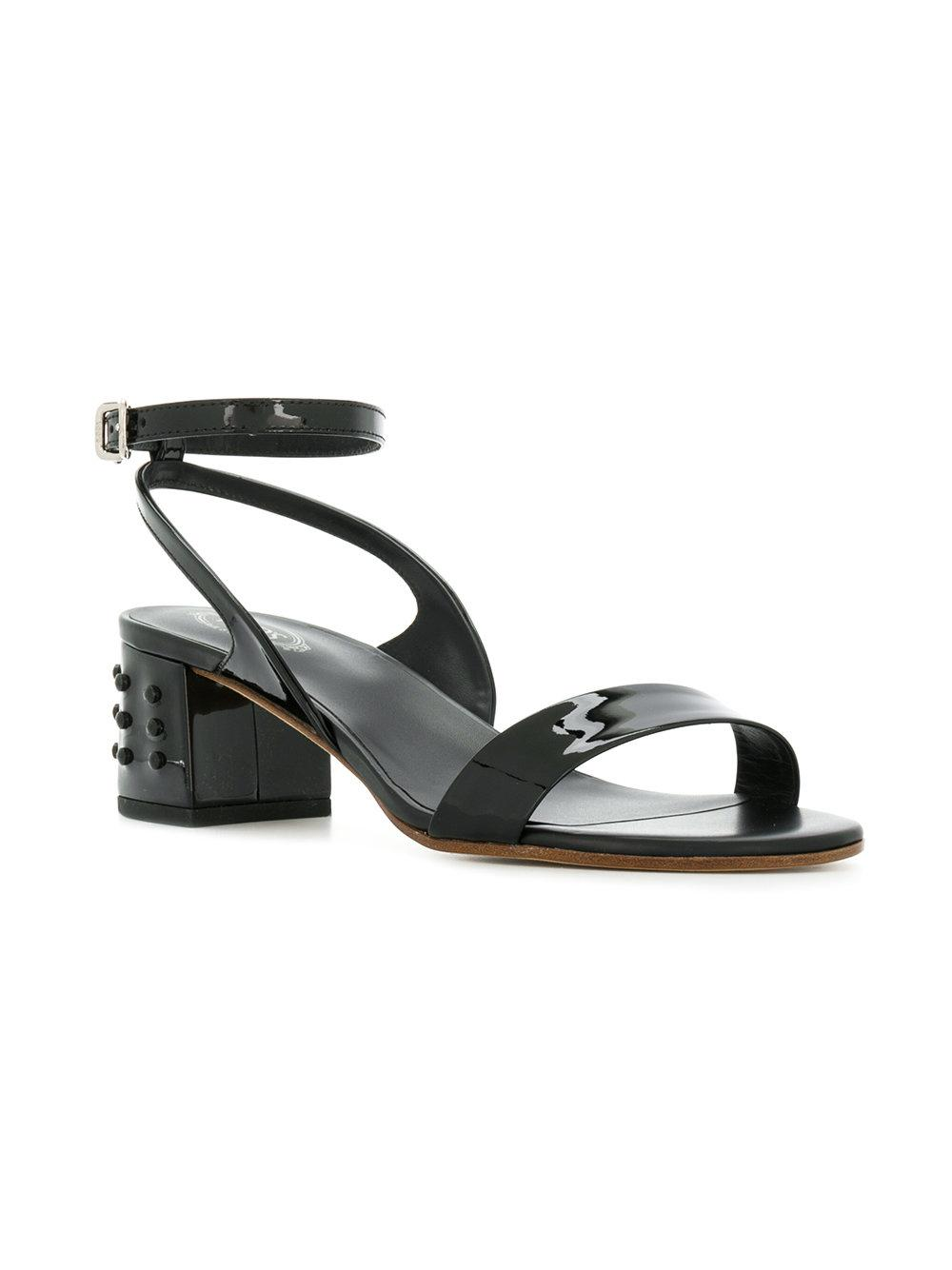 a3fa1d8b83e Lyst - Tod s Stud Detail Block-heel Sandals in Black