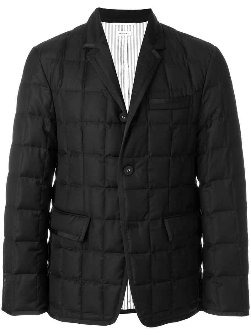 Thom Browne Downfilled Classic Single Breasted Sport Coat With Grosgrain Tipping In Black Super 130s Wool Twill Manchester Online Good Selling x01Vu3AH