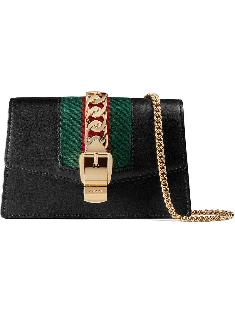 e2389b0ea4b6f4 Gucci - Black Sylvie Leather Mini Chain Bag - Lyst. View fullscreen