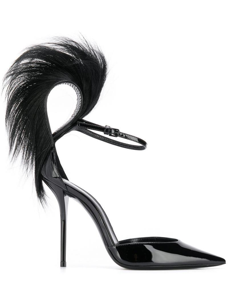 e32203a60afd Saint Laurent Jamie Fur-trim Patent Pumps in Black - Save 39% - Lyst