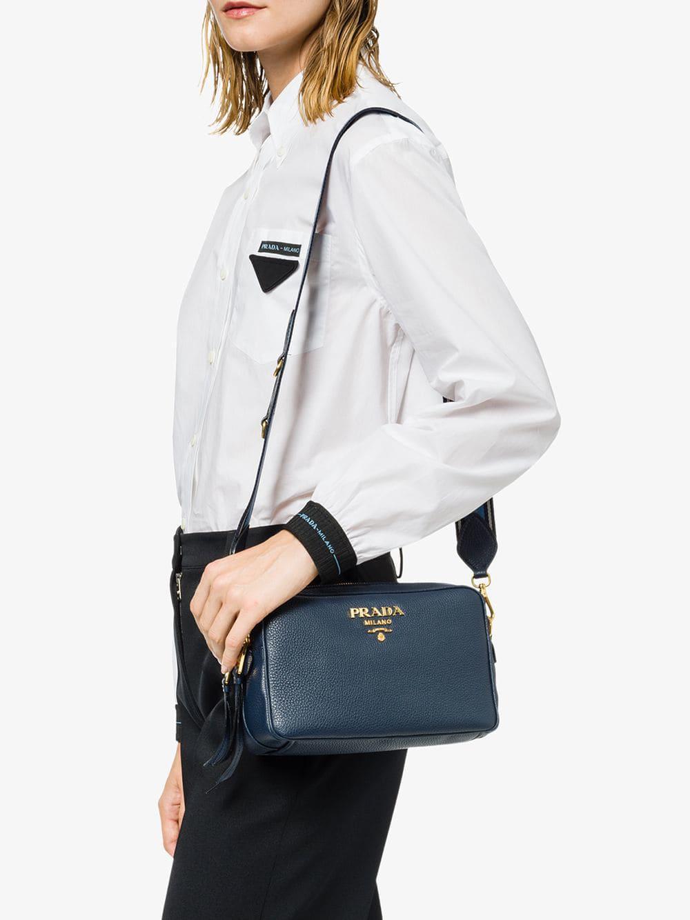 9bf9b8098078 Lyst - Prada Calf Leather Shoulder Bag in Blue