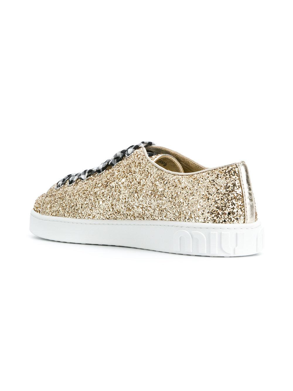 patch embroidered glittered sneakers - Metallic Miu Miu Cheap Outlet 9FUExipFvl