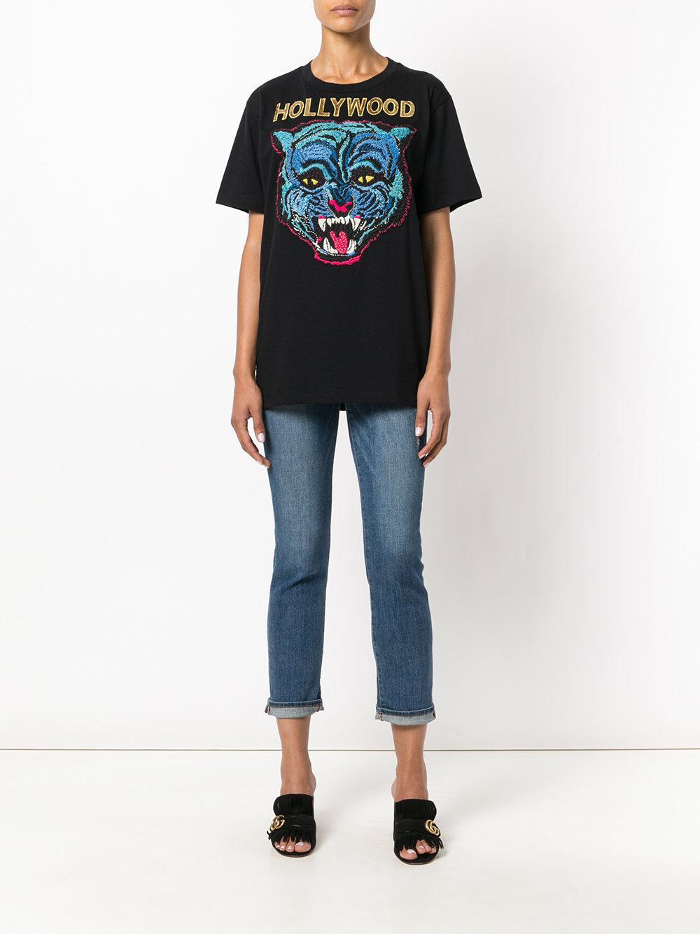 f337c912098 Gucci - Black Embroidered T-shirt - Lyst. View fullscreen