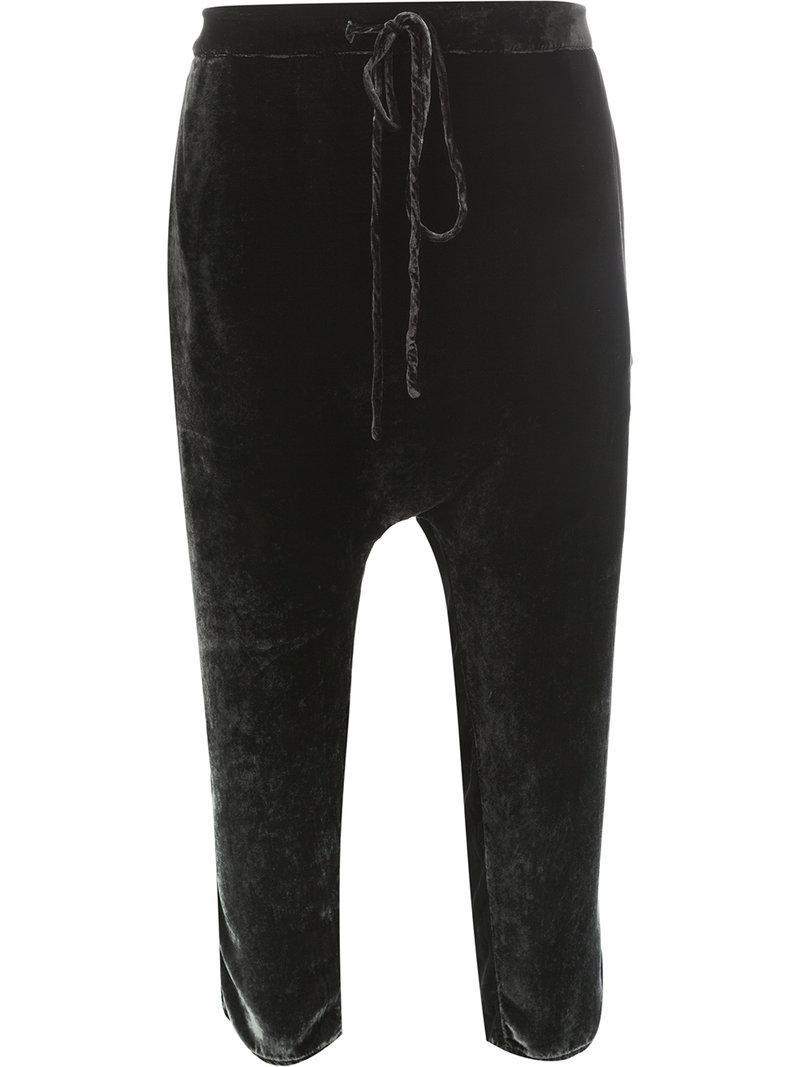 Crop Noir En Coloris Lyst Pantalon Coupe À Velours Sarouel Masnada lFJT1Kc3