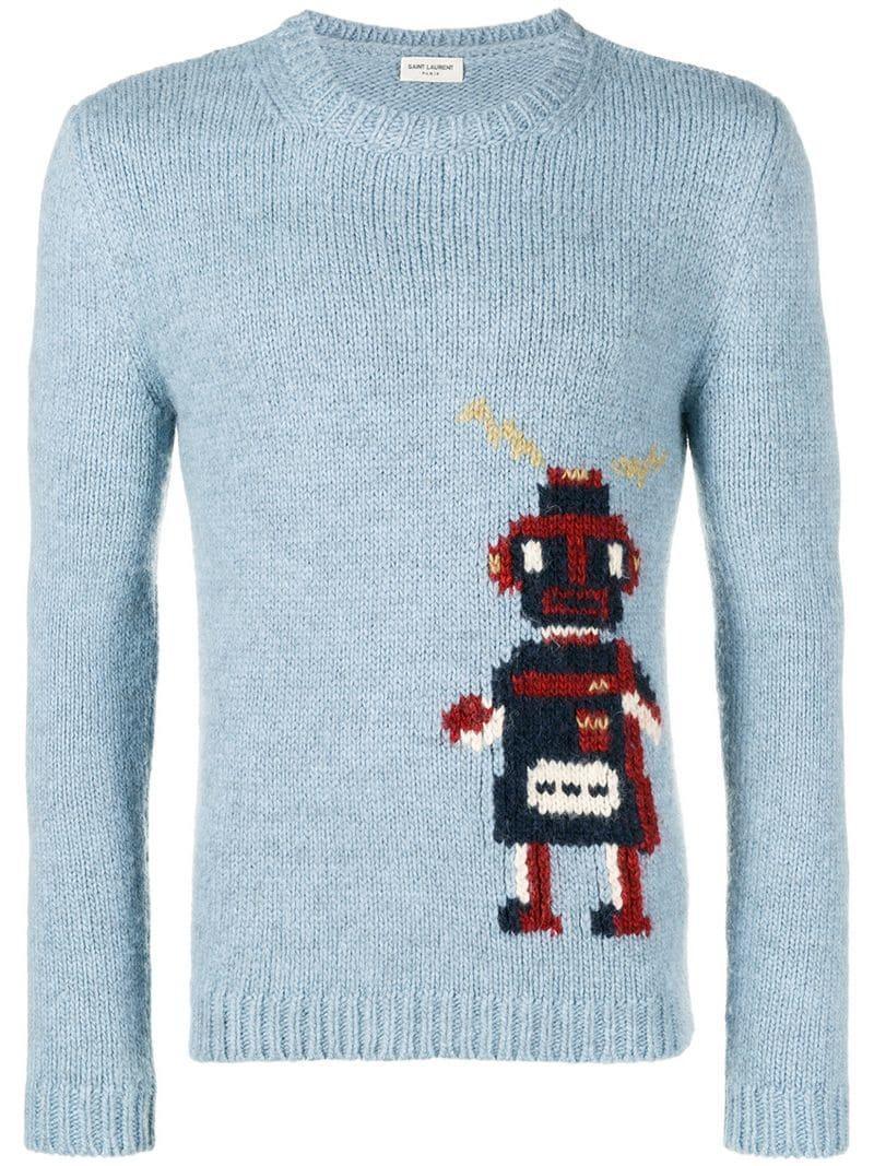 77ec840df6 Saint Laurent Robot Jacquard Sweater in Blue for Men - Lyst