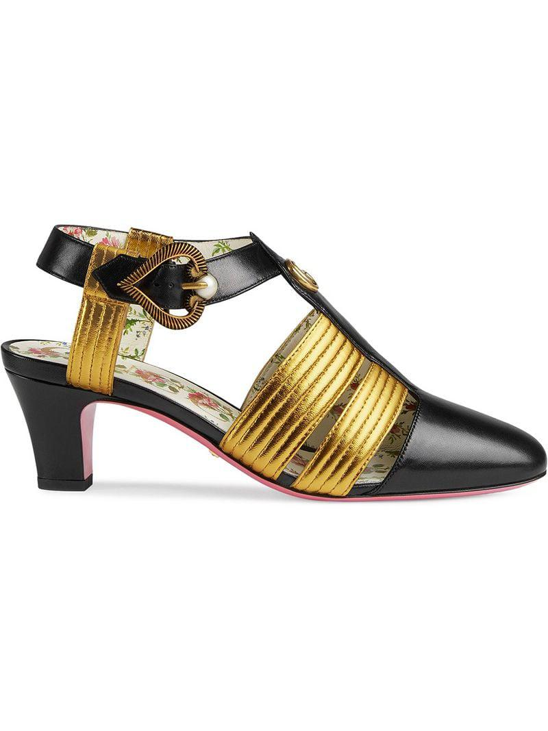 d8045249f103 Lyst - Gucci Leather Mid-heel T-strap Sandal in Black