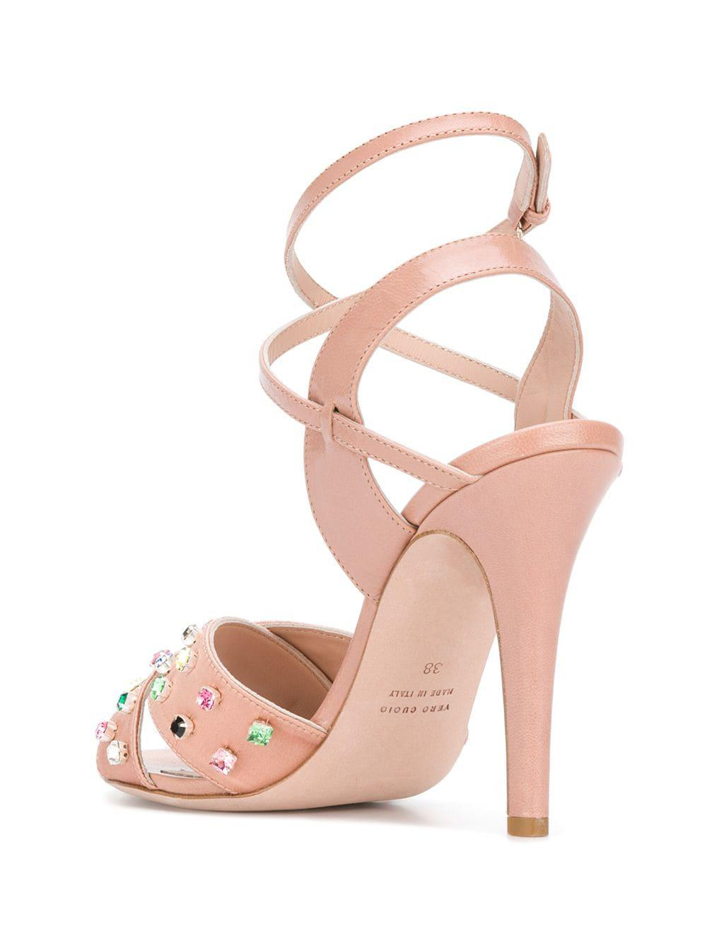 089d2f10c0e735 RED Valentino - Pink Red(v) Jewel Embellished Sandals - Lyst. View  fullscreen