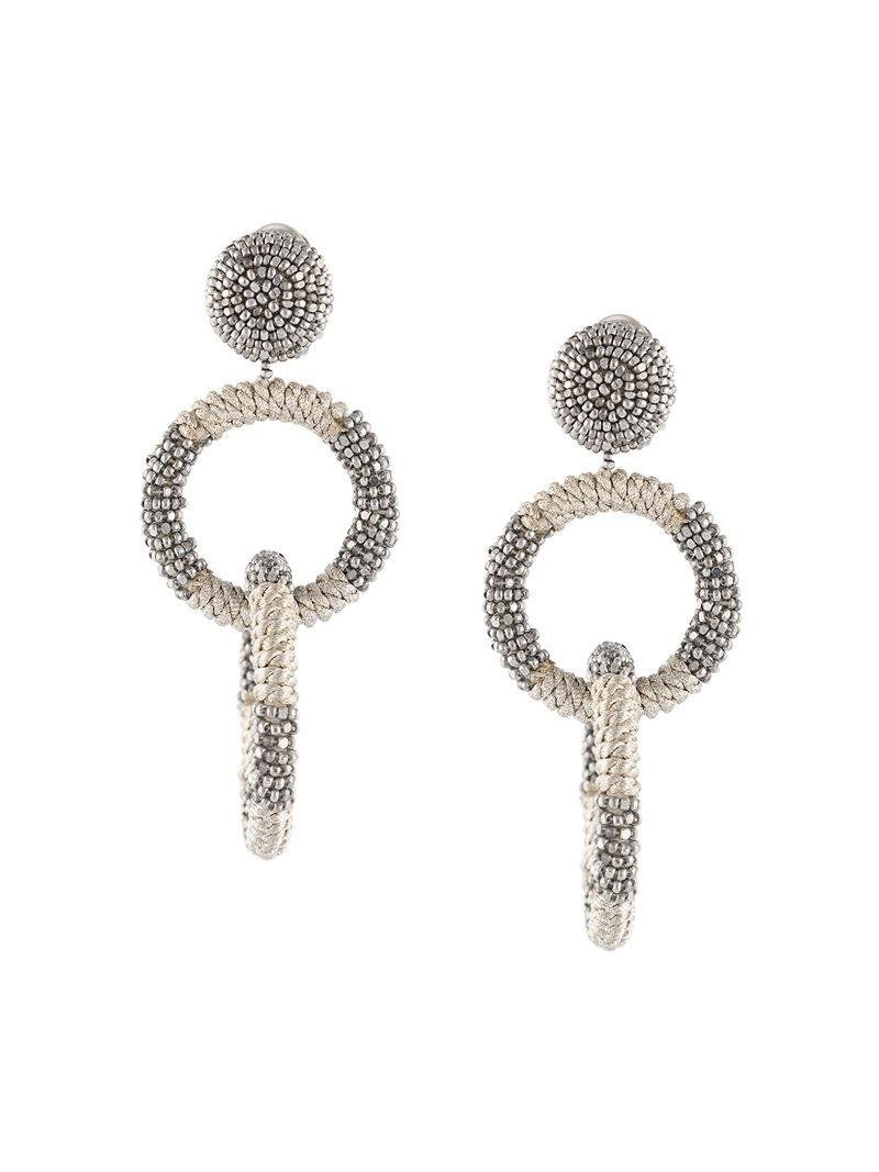 beaded double-hoop earrings - Metallic Oscar De La Renta sdCwLyxOOF