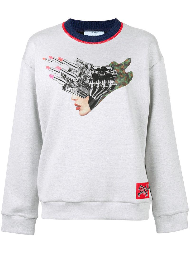 Clearance Countdown Package Hibiscus-appliqué sweatshirt Prada Best Prices Online With Paypal Cheap Price towIyhDej