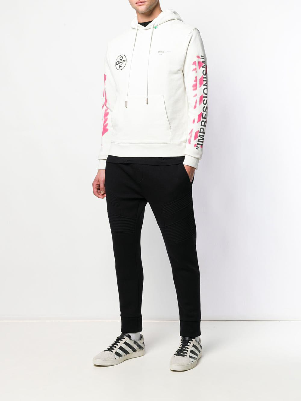 0ccd3b95b523 Lyst - Off-White c o Virgil Abloh Diag Stencil Slim Hoodie in White for Men  - Save 28%