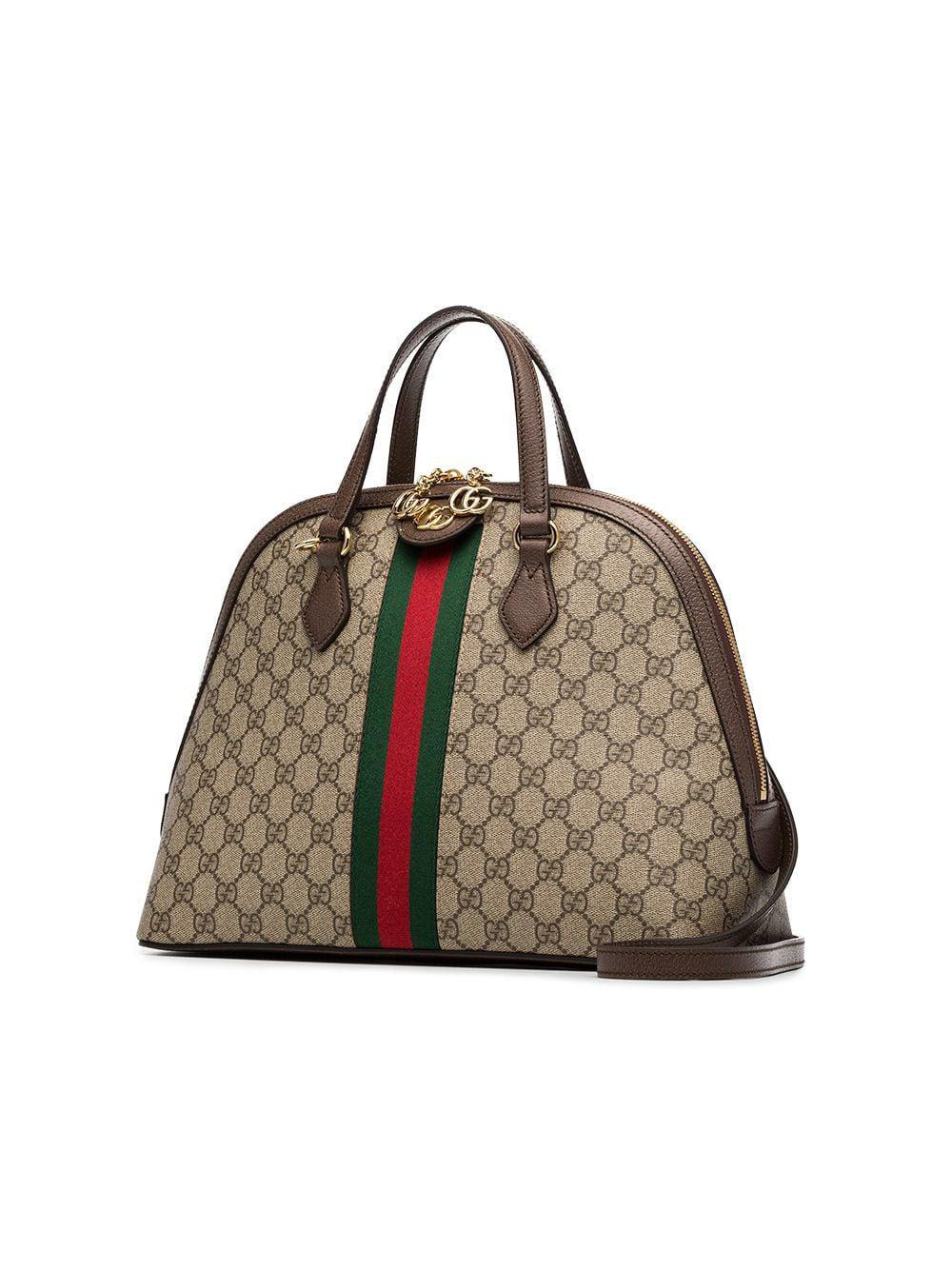 Gucci Ophidia Gg Supreme Dome Top Handle Bag in Brown - Lyst e590bffb7ee