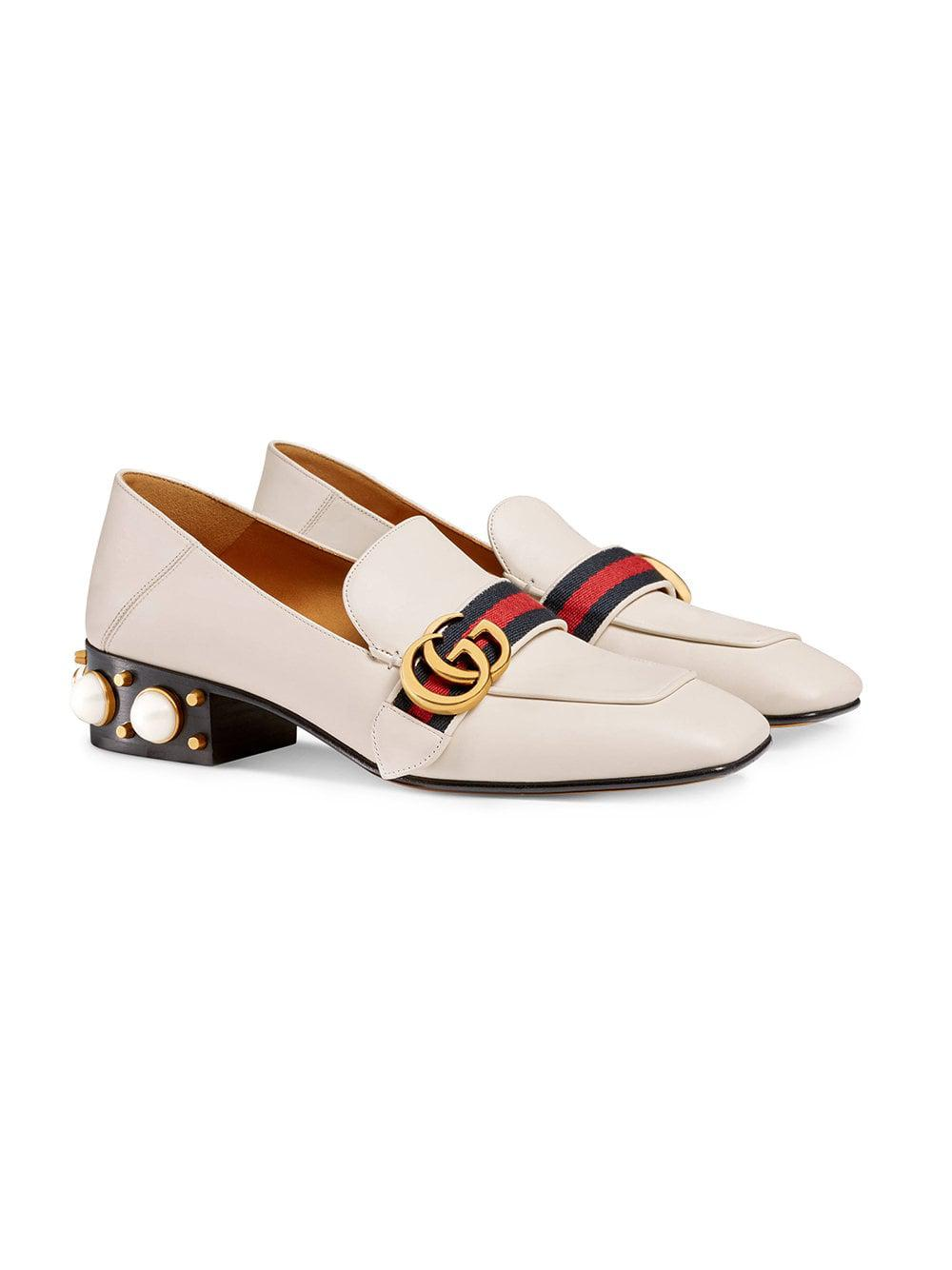512542cd1c19 Lyst - Gucci Peyton Pearl Embellished Leather Loafers - Save 27%